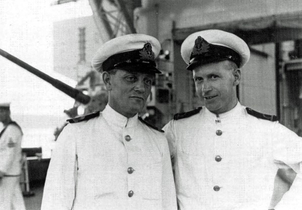 Albert with Scott (left) onboard Glorious