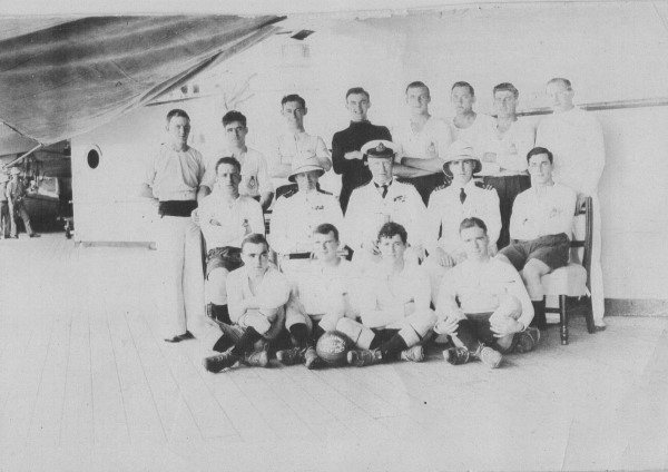 Stanley as part of the HMS Cornwall football team 1928