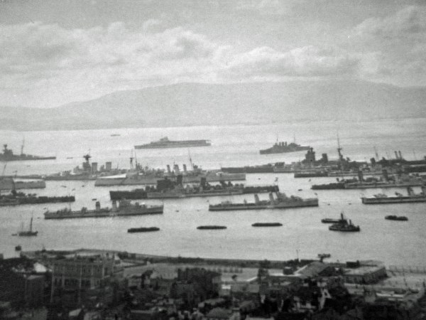 Fleet at Gibraltar, with Glorious in distance (courtesy of Brian Reeves)