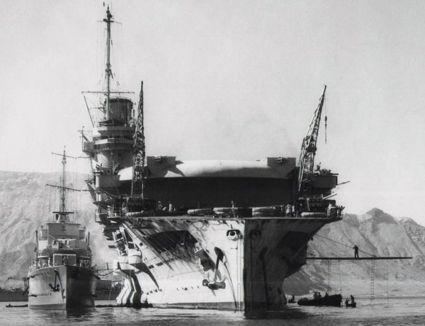 Glorious with HMS Bulldog alongside, Socotra, November 1939 (courtesy of Trevor Cox)